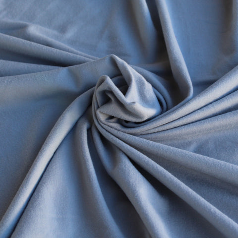 SIlver Double Brushed Polyester Spandex Knit. LA Finch Fabrics. DBP. Designer Apparel Fabrics
