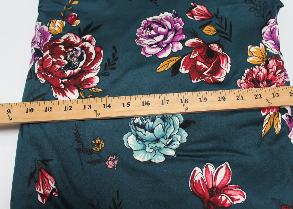End of Bolt: 1 yard of Double Brushed Coralie Teal Floral Knit