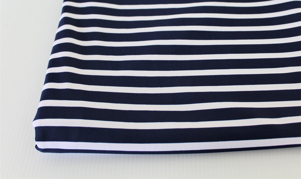 End of Bolt: 2 yards of Navy & White Swim Performance wear Stripe Knit