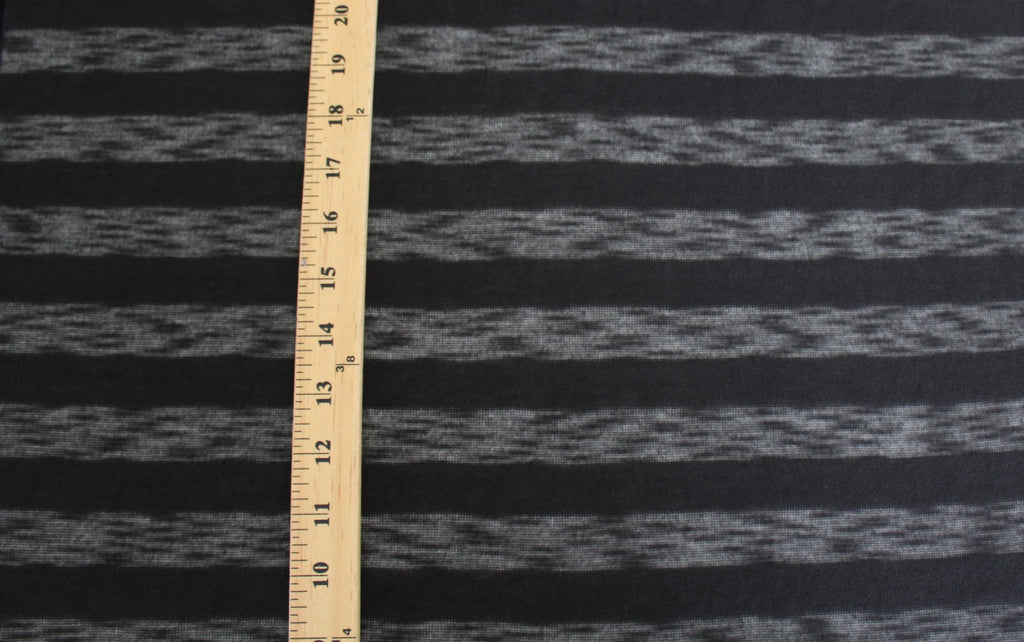 End of Bolt: 4 yards of Designer Lightwieght Sweater Stripe Black Jersey Knit