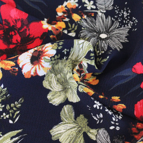 At the Arboretum Navy Floral Blousewear Crepe