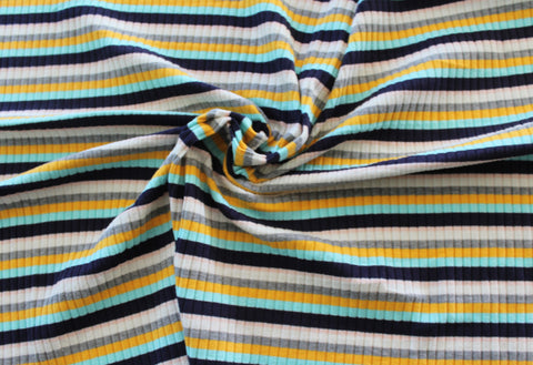Famous Maker Multi Stripe Rib Yellow Knit