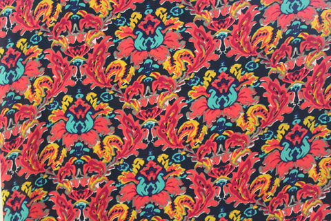 End Of Bolt: 3 Yards of Floral Polyester Crepe De Chine Woven