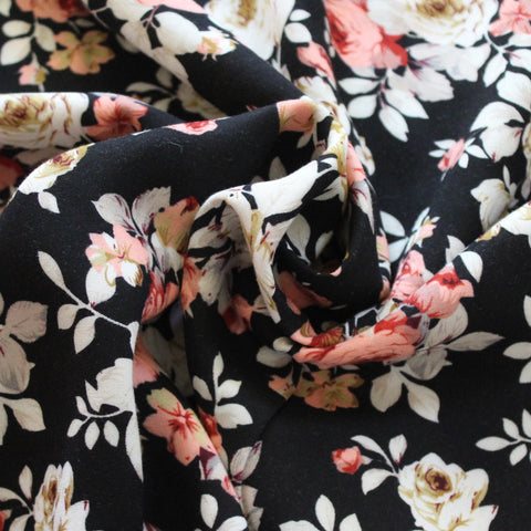 End of Bolt: 2.5 Yards of Romantic Florals Rayon Challis