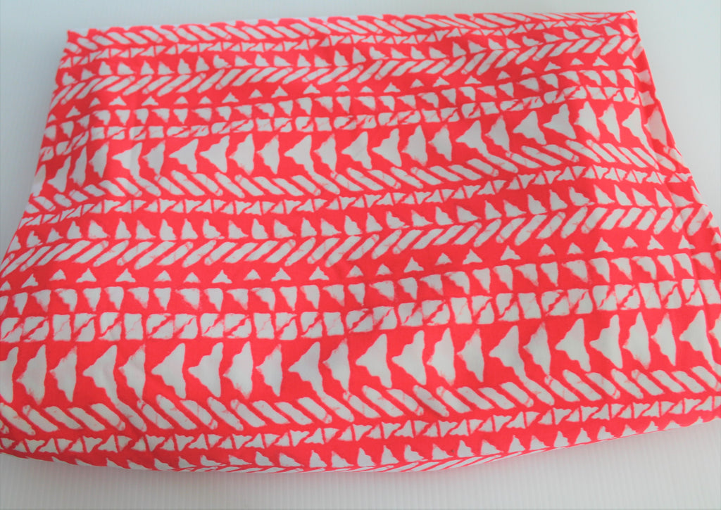 End of Bolt: 3.5 Yards of Premium Quality Abstract Orange Red Swim Knit