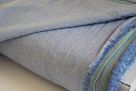 End of Bolt: 3 yards of Light Blue Chambray Woven