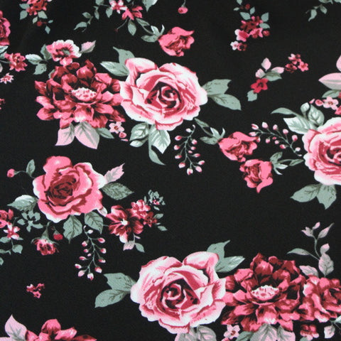 Rosalie Floral Black Liverpool Knit