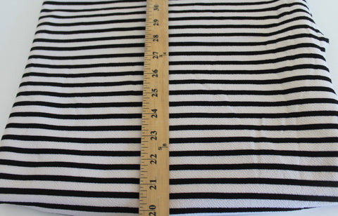 End of Bolt: 1 yard of Ivory and Black Stripe Liverpool Knit