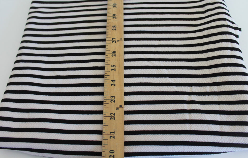 End of Bolt: 1-3/8th yards of Ivory and Black Stripe Liverpool Knit