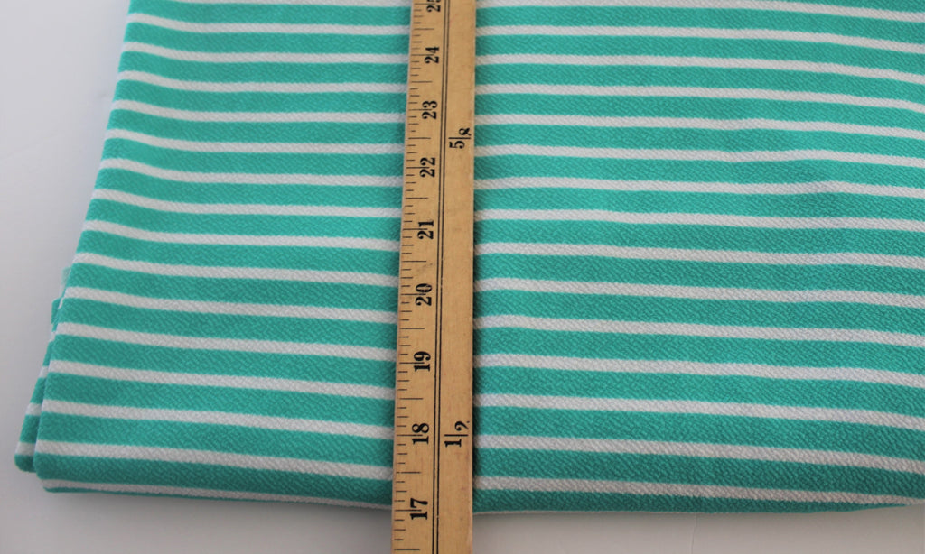 End of BOlt: 1-5/8th yards of  Mint and Ivory Small Stripe Liverpool