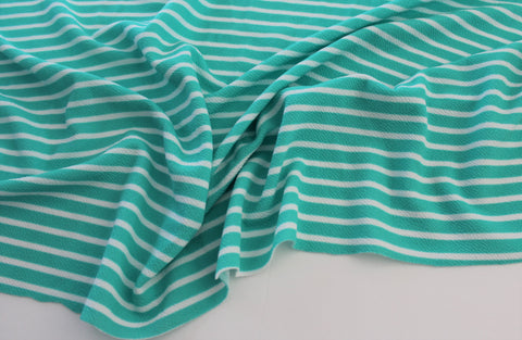 End of BOlt: 1.5 yards of  Mint and Ivory Small Stripe Liverpool