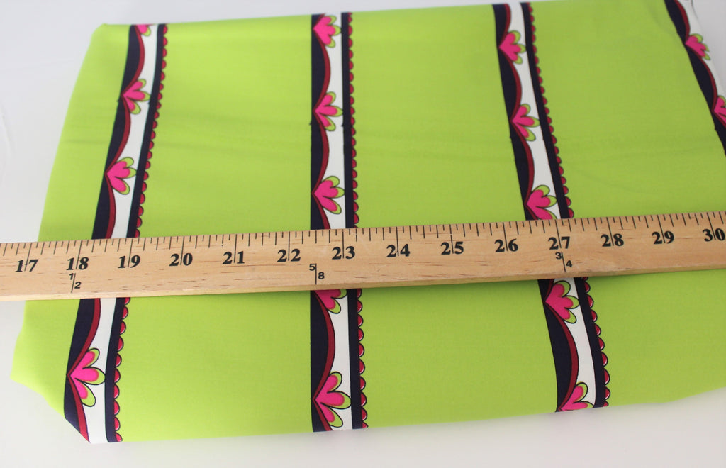 End of BOlt: 1.5 yards of Lime Green Stripe Nylon Spandex Swim Knit