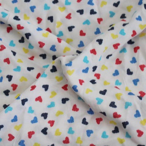 End of Bolt: 2.5 yards of  Rayon Challis Hearts Print Woven