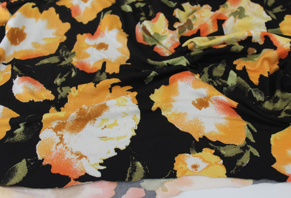 End of Bolt: 2.5 yards of Double Brushed Marigold June Floral Jersey Knit