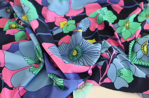 End of Bolt: 2 yards of Nylon Spandex Retro Matte Floral Swim & Performance Wear Knit