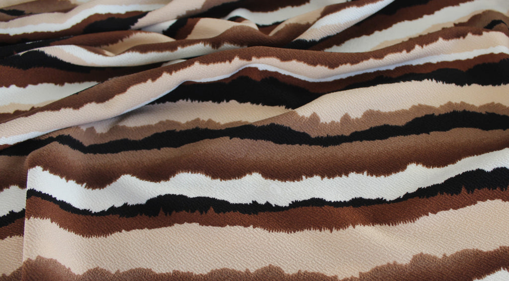 End of BOlt: 2.5 yards of Striated Brown Sunset Stripe Liverpool Knit