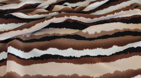 End of Bolt: 4.5 yards of Striated Brown Sunset Stripe Liverpool Knit