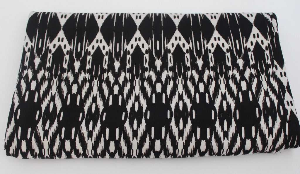 End of Bolt: 5 yards of Famous Maker Premium Rayon Spandex Tribal Black & White Jersey Knit