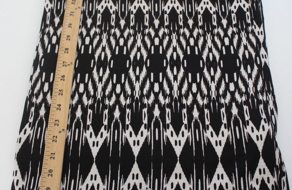 Famous Maker Premium Rayon Spandex Tribal Black & White Jersey Knit