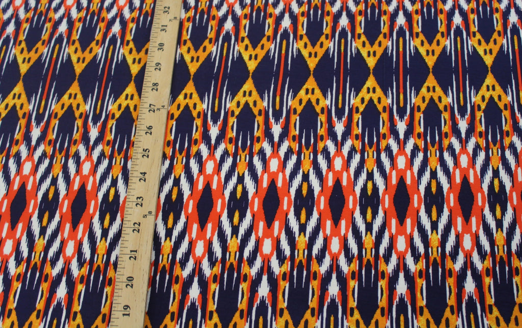 End of BOlt: 3-1/4th yards of Famous Maker Premium Rayon Spandex Tribal Orange Jersey Knit