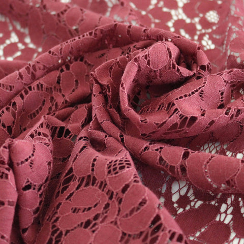 Moneta Burgundy Floral Cotton Lace Woven