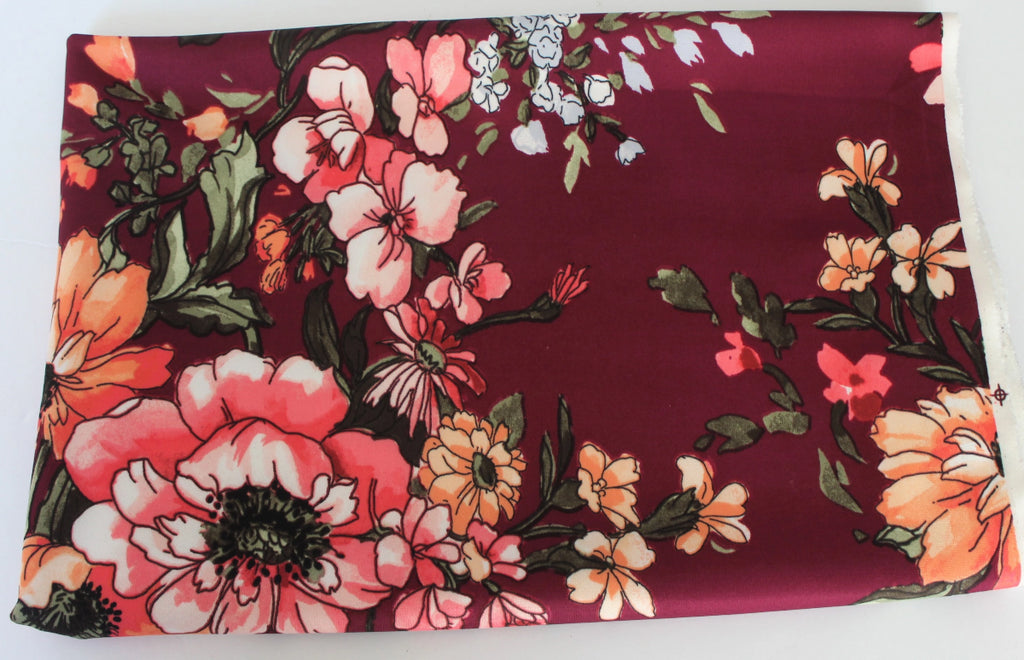 End of BOlt: 2-1/8th yards of Large Scale Florals Peach, Coral & Burgundy Scuba Techno Knit