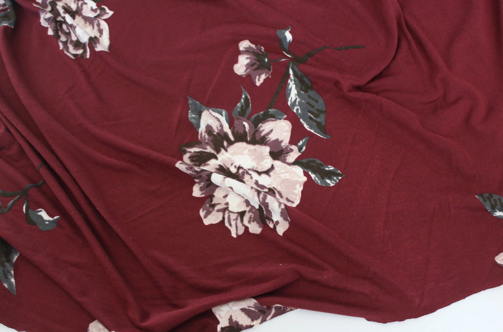 End of Bolt: 3 yards of Double Brushed Large Scale Floral Burgundy Jersey Knit