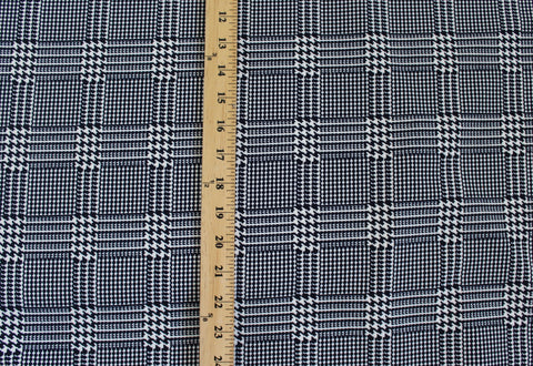 Navy Plaid Scuba Techno Knit- Anniversary Sale