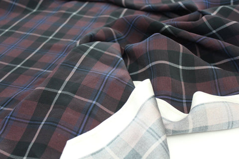 Designer Silk Charmeuse Plaid