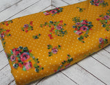 End of BOlt: 1-3/4th yards of Double Brushed Mustard Floral and Dot Jersey Knit