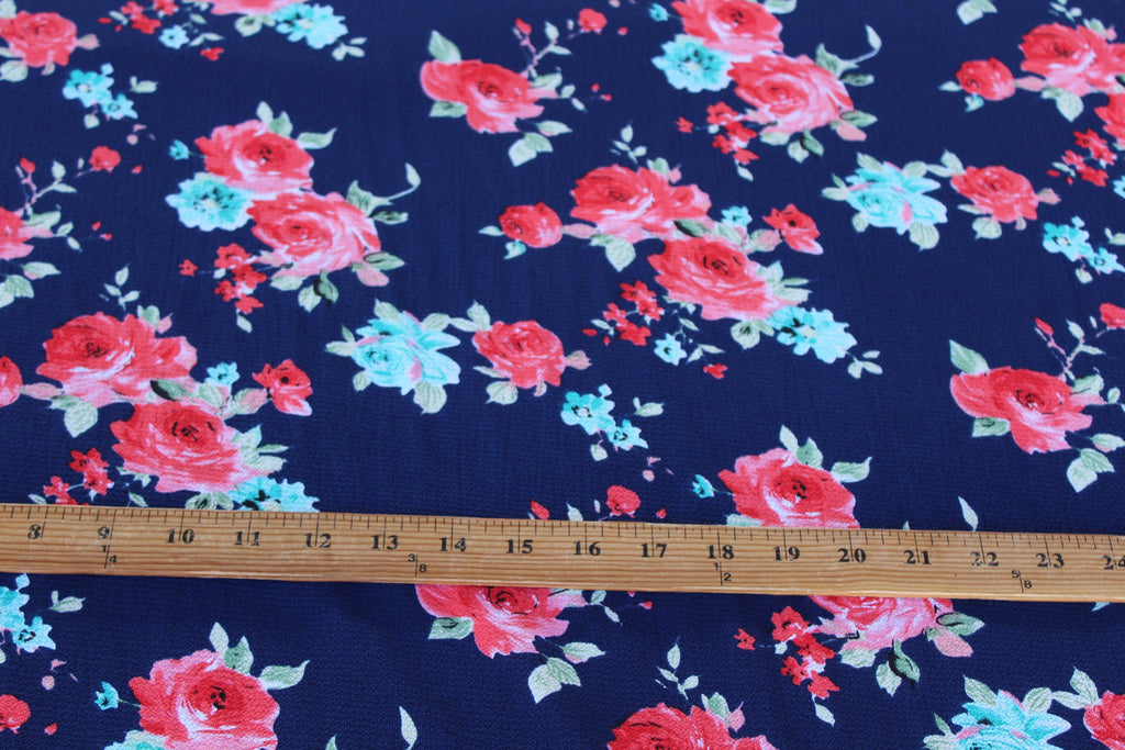 End of Bolt: 1.5 yards of  Parkside Floral Blousewear Crepe