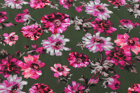 End of Bolt: 5 yards of  Tamsia Floral Army Green Blousewear Crepe
