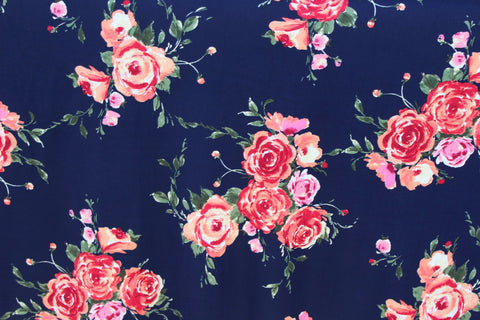 Double Brushed Alma Rose Navy Floral Knit