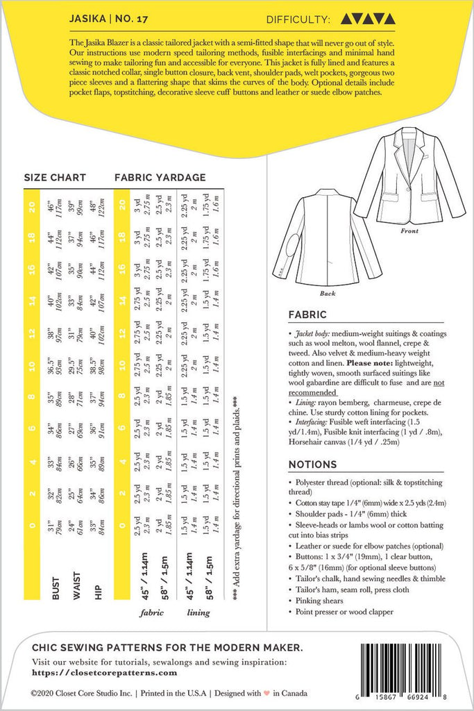 Pattern for Garment Making: Jasika Blazer by Closet Core Patterns