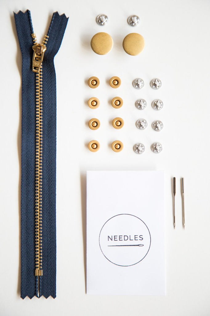 Notions by Closet Core Patterns: Zipper Fly Jeansmaking Kit- Gold