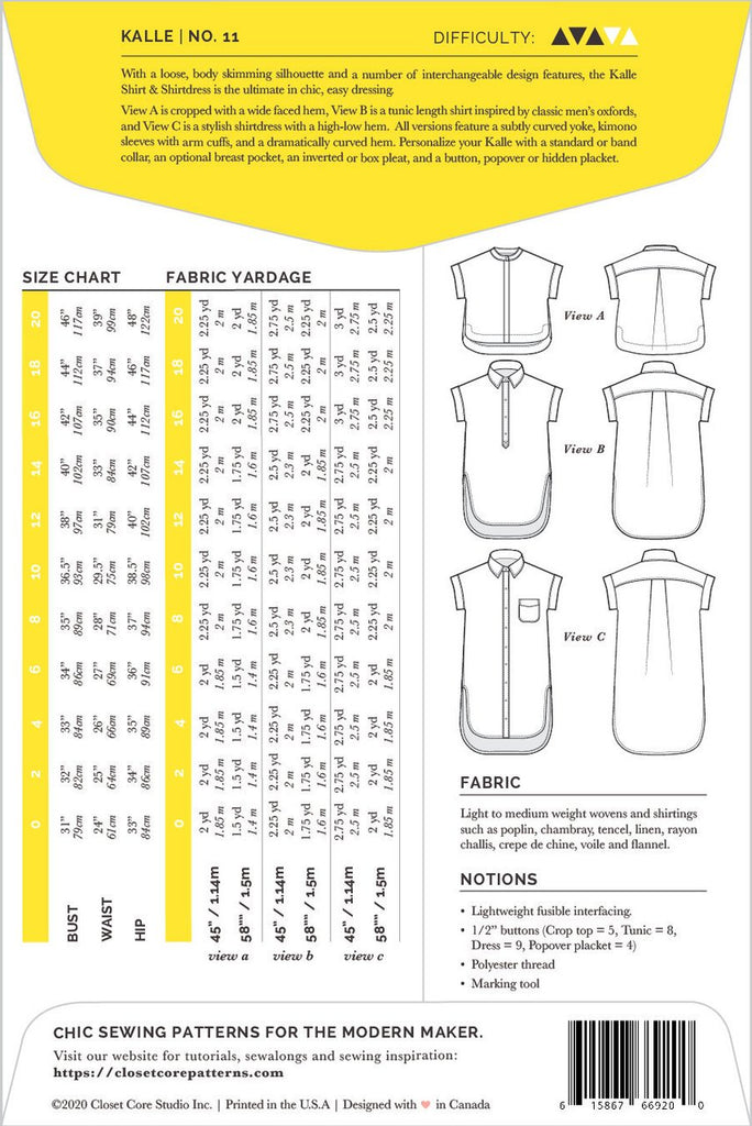 Pattern for Garment Making: Kalle Shirt & Shirtdress by Closet Core Patterns