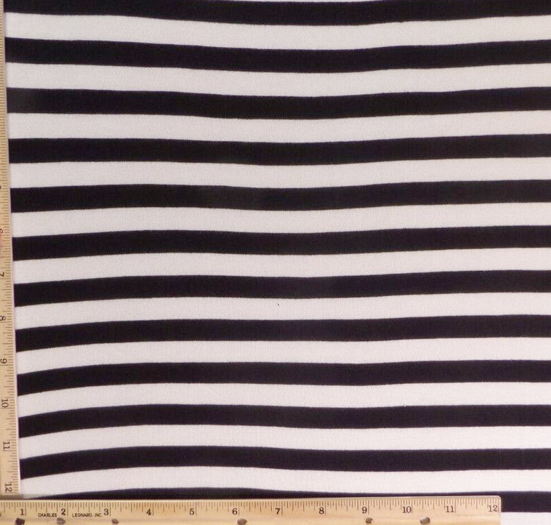 Rayon Spandex Stripe Black and White Knit