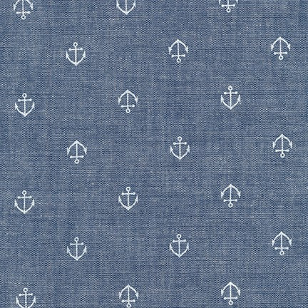 End of BOlt: 2 yards of Sevenberry Royal Hue Chambray Anchor Blue Woven 3.42 oz- Remnant