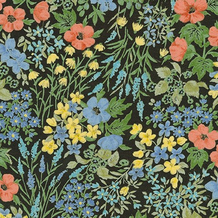 Kaufman Sevenberry Petite Garden Black and Blue Lawn -By the Yard