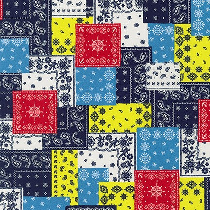 End of BOlt: 2-7/8th yards of Fashion Bandana Multi Print Cotton Poplin 3.7oz- remnant