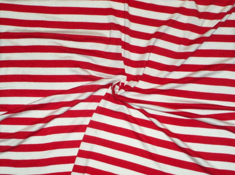 End of Bolt: 3-1/8th yards of Rayon Spandex Stripe Red and White Knit