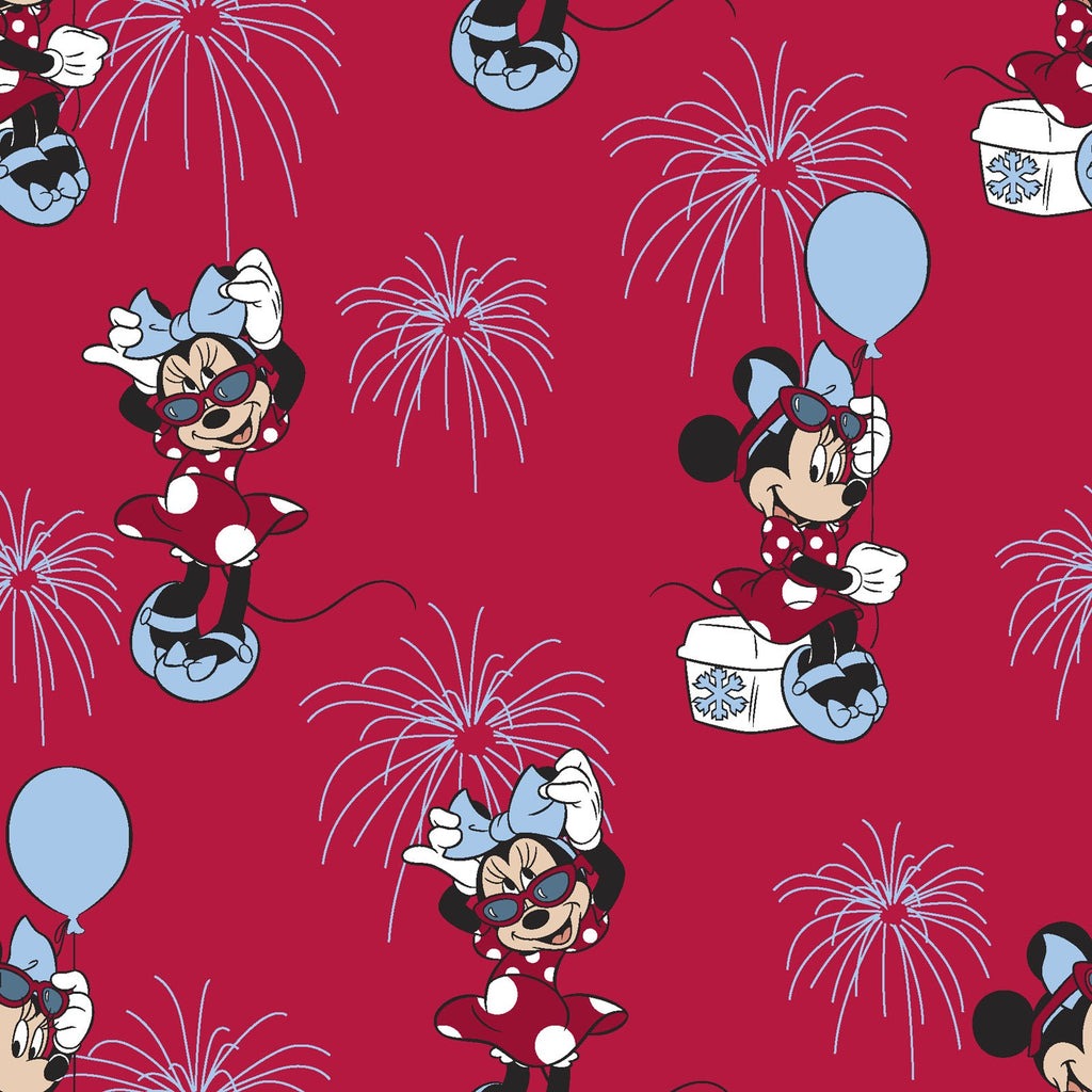 Licensed Red Minnie Mouse with Glasses & Balloons 100% Cotton Woven- Sold by the yard
