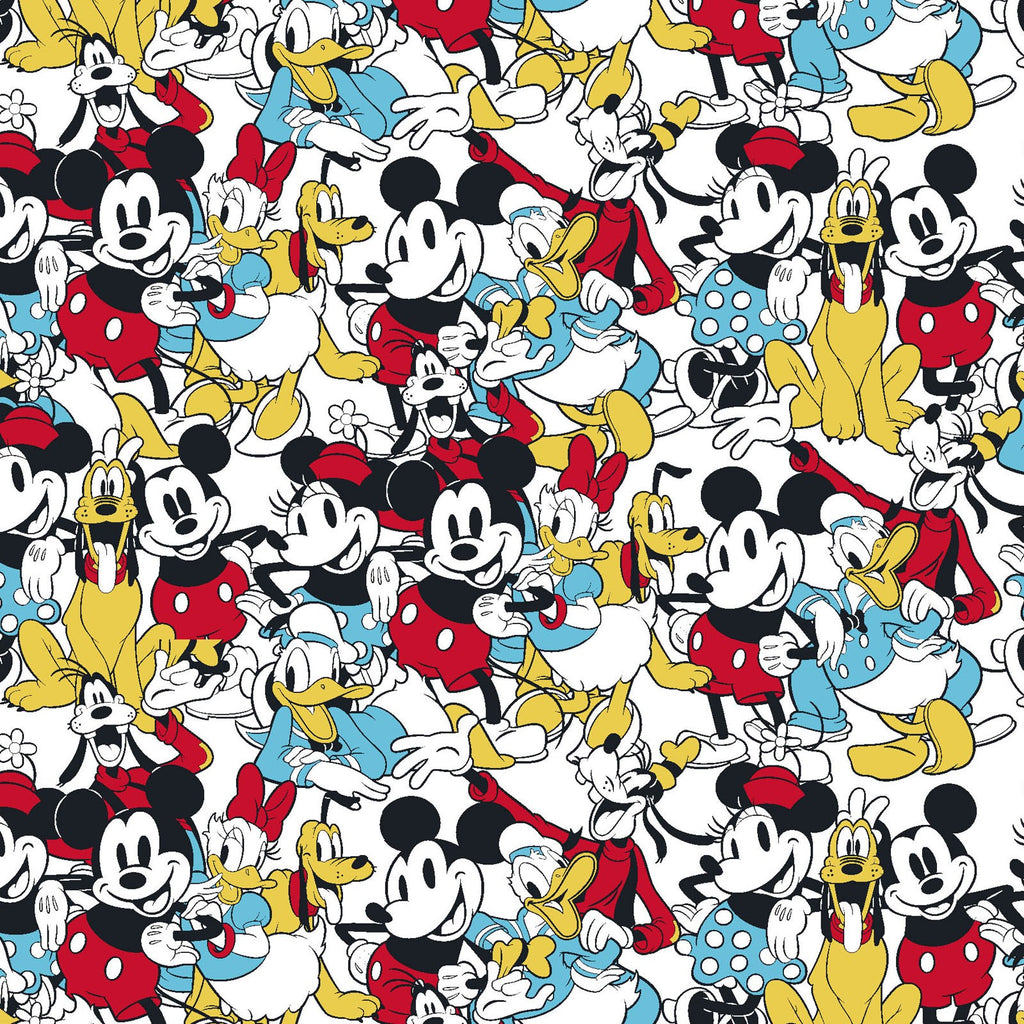 Licensed Mickey Mouse & Friends Sensational 6 Snapshot 100% Cotton Woven- Sold by the yard