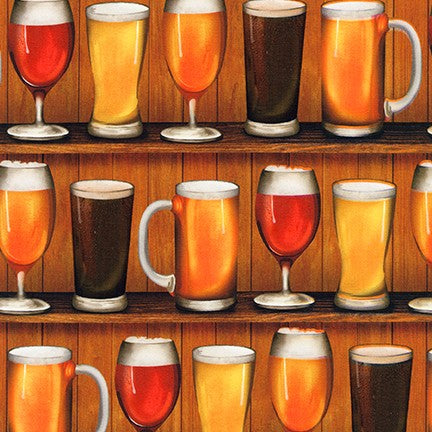 End of Bolt: 3.5 yards of Kaufman Cheers Beer Glasses Celebration Cotton Woven 4.45 oz - Remnant