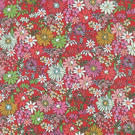 London Calling 9 Petal Mixed Garden Cotton Lawn-By the Yard