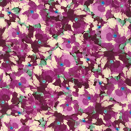 Fashion Painterly Camden Plum Petals Cotton Woven 3.3oz -Sold by the yard