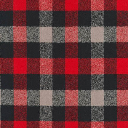 Mammoth Flannel Red Checkered Plaid Cotton Woven 6.4 oz- Sold by the yard