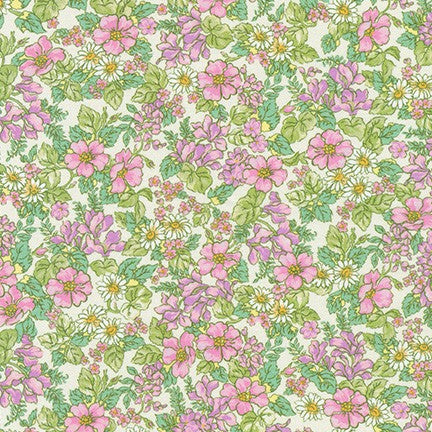 Kaufman London Calling Sweet Floral Cotton Spandex Knit- By the yard