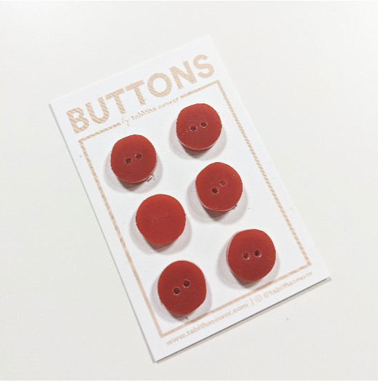 Notions: Irregular Circle Button - .59 in. - Color: Rust- Pack of 6 Buttons