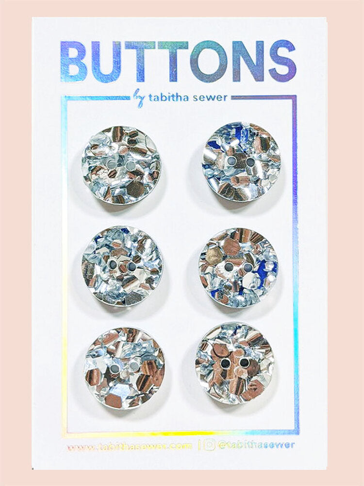 Notions: Silver Glitter Confetti Classic Circle Buttons- .59- Pack of 6 Buttons